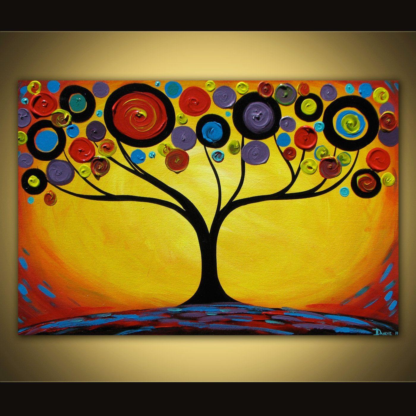 Original abstract painting Sunset Swirl Tree acrylic on canvas 36x24 ...