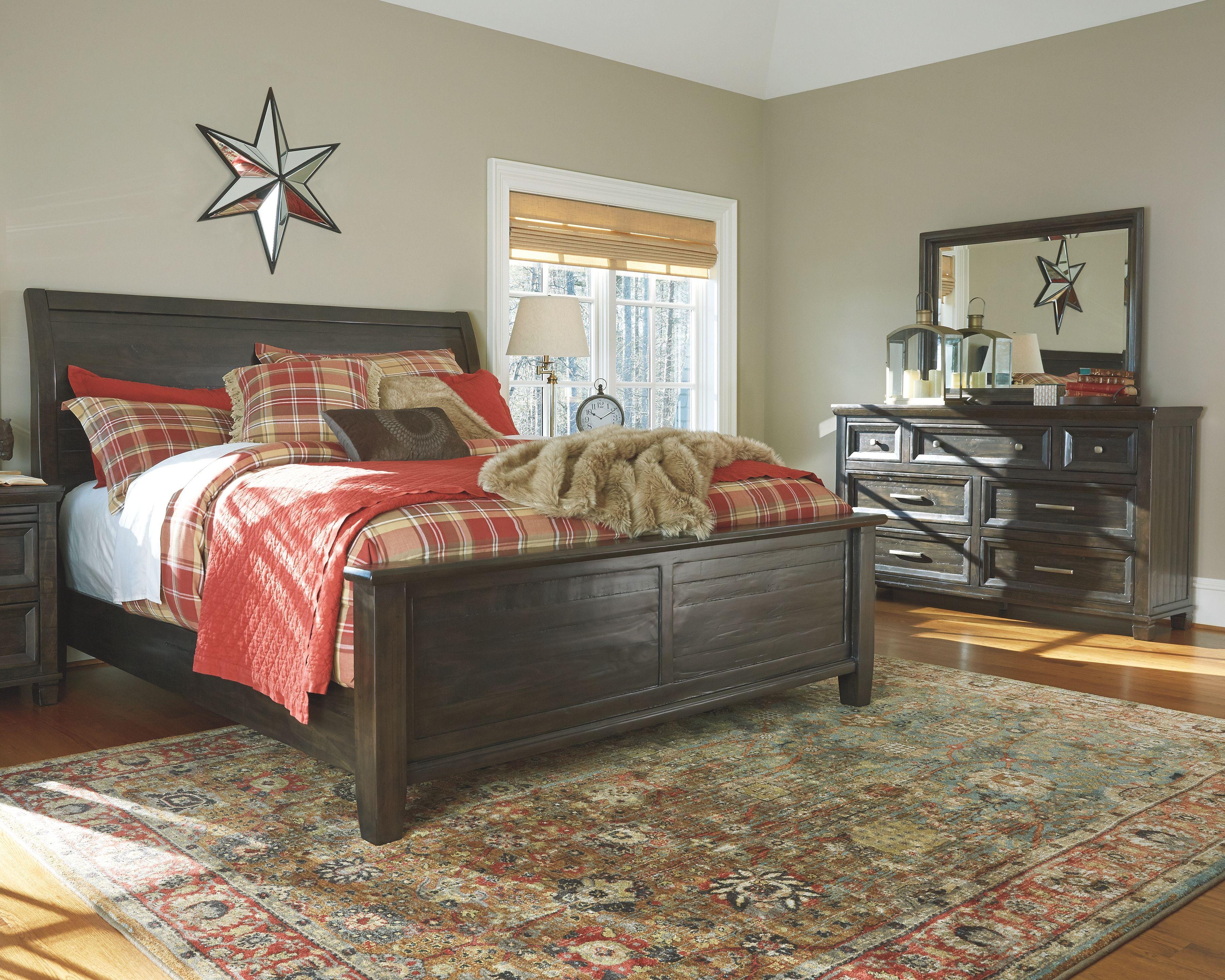 Townser 5 Piece King Sleigh Bedroom Grayish Brown Cheap Bedroom
