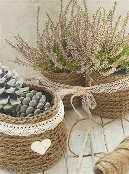 Cestas de crochet con cuerda lana y trapillo en la - Cestas de trapillo ...