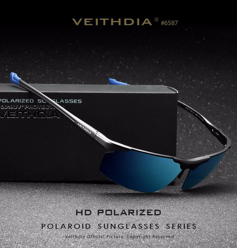 43b940550b awesome Veithdia Aluminum Magnesium Men s Sunglasses Polarized Sports  Coating Mirror 6587