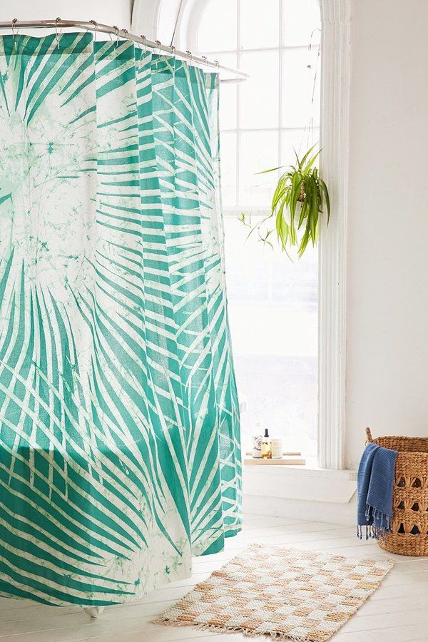 Batik Palm Print Shower Curtain Curtains Tropical Bathroom