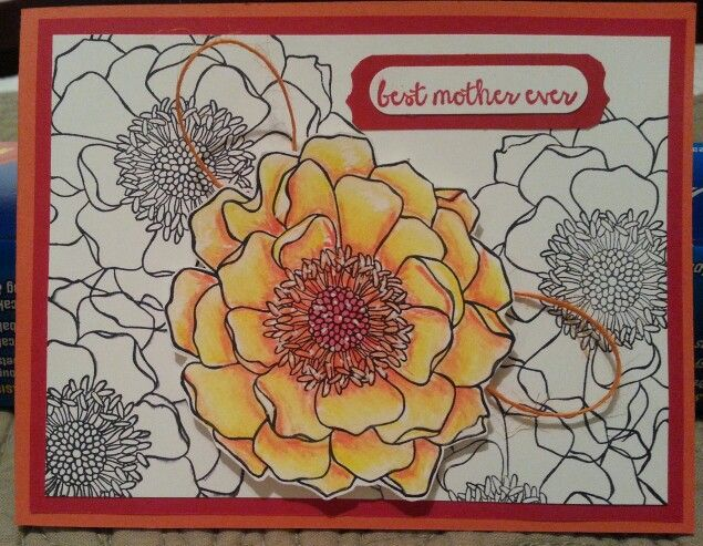 New card technique for me Prismacolor Pencils and blending with Gamsol.  I like it.   Stampin up Mother's Day Card using Blended Bloom Stamp.