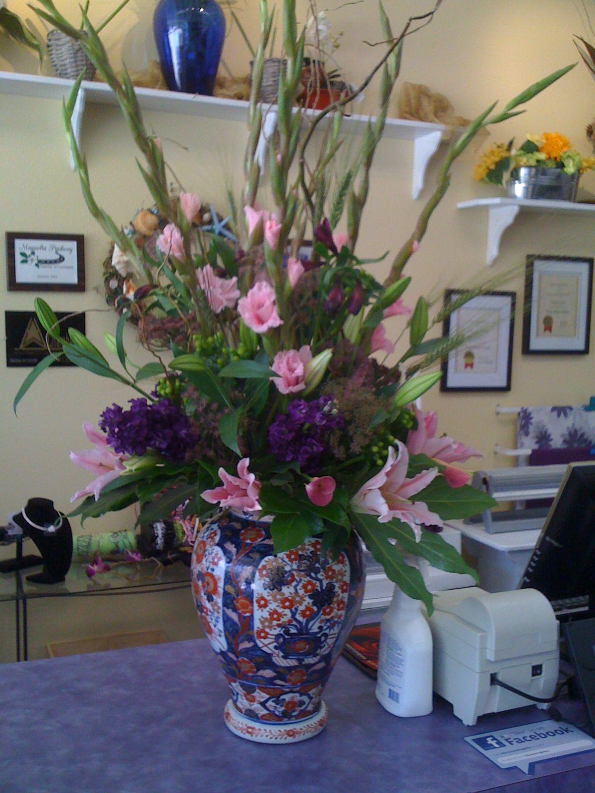 Flower arrangement. stargazer lilies, gladiolas, stock