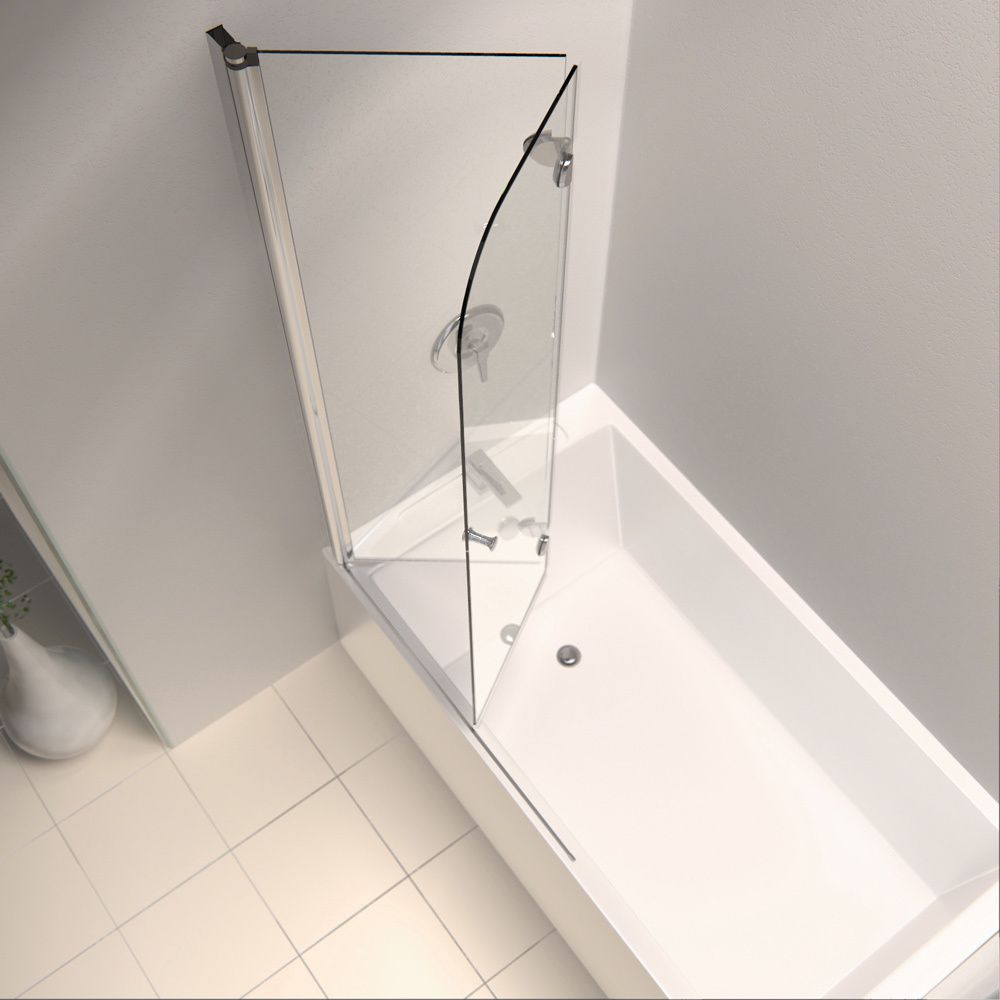 DreamLine Aqua Fold 36-inch Frameless Hinged Tub Door | Overstock ...