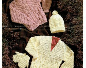 This is my favourite pattern of all time, my late Mother knit this set for my daughter and I still have the set packed away safely. Lovely dress, elegant coat/jacket, bootees and bonnet. Beautiful gown for baptism/christening or blessing day To fit baby 14 to 20 inch chest on 3mm and 3.75mm needles (so will fit preemie) Uses DK (8ply) Yarn  No resale rights as with all my listings, personal use only. 68 5