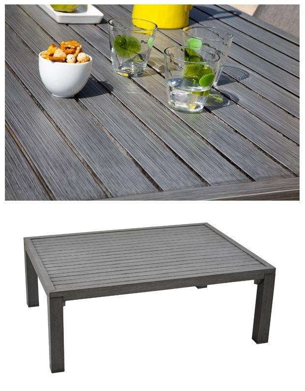table en aluminium effet bois, gris béton | Extérieur ...