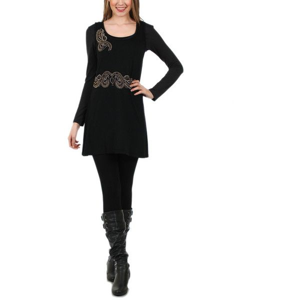 Aster Black Embellished Tunic & Scoop Neck Top ($40) ❤ liked on Polyvore