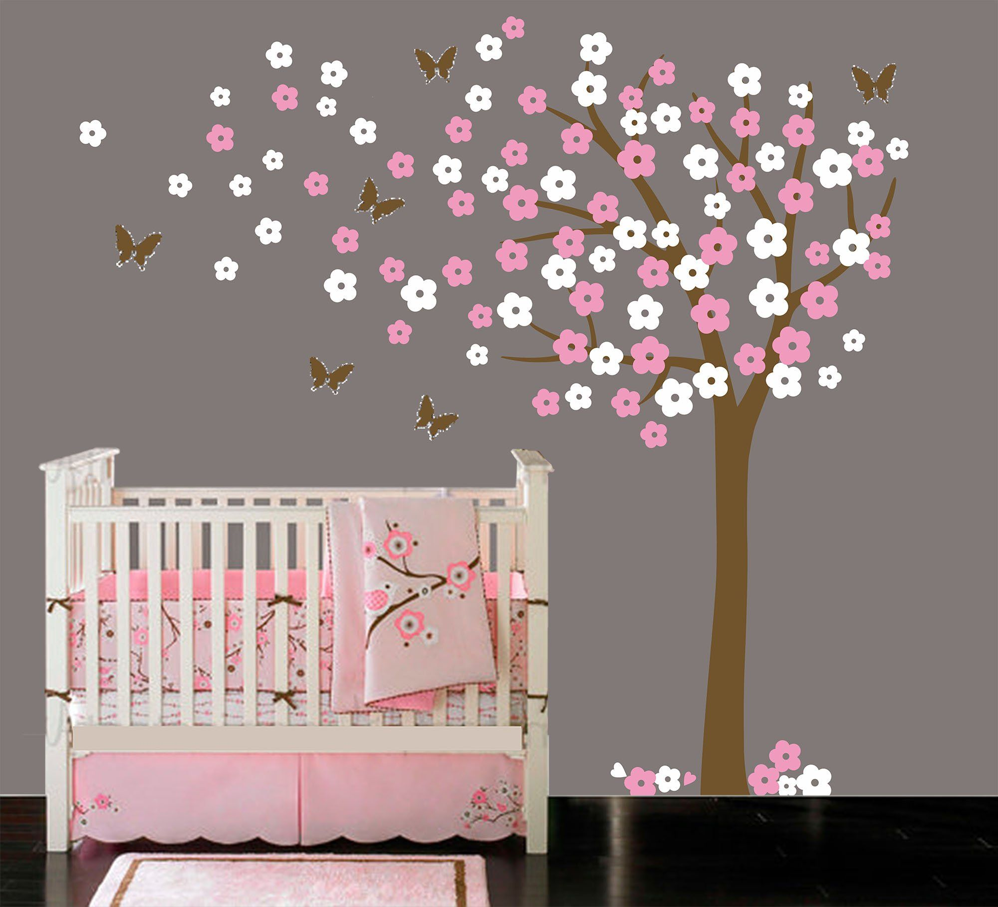 Luckkyy Large Blooming White And Pink Flowers Tree With Birds Wall