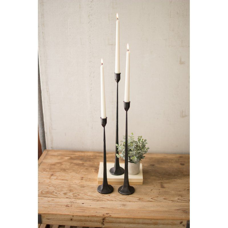 Vintage Style Black Cast Iron Candlestick Taper Candle Holder Christmas Table