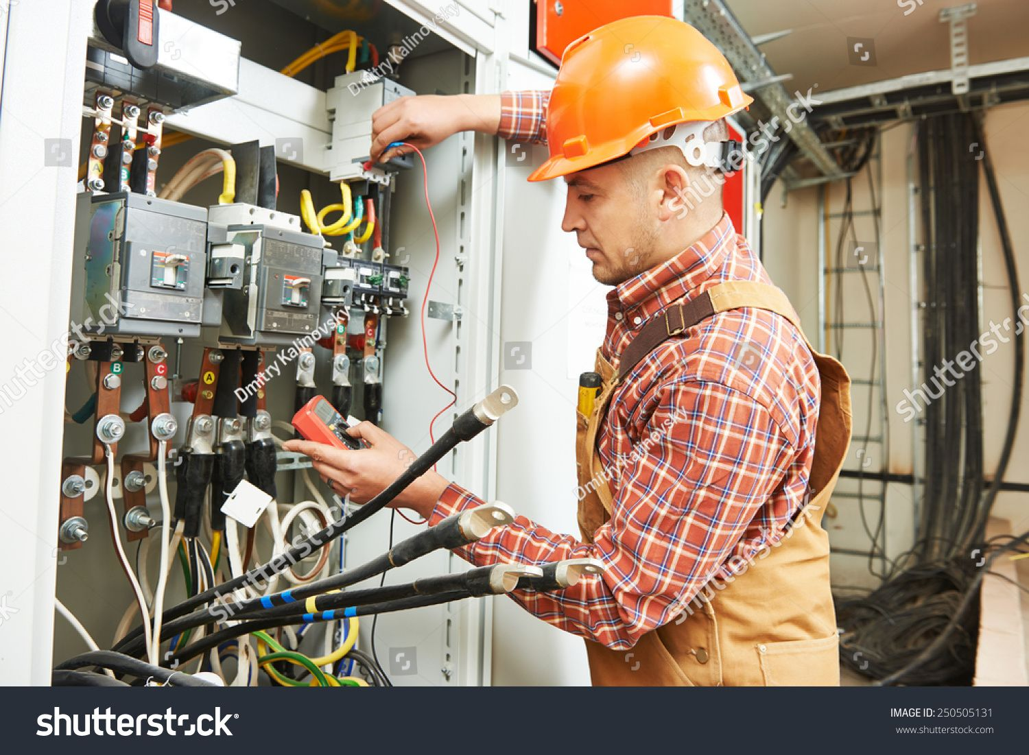 young adult electrician builder engineer worker in front
