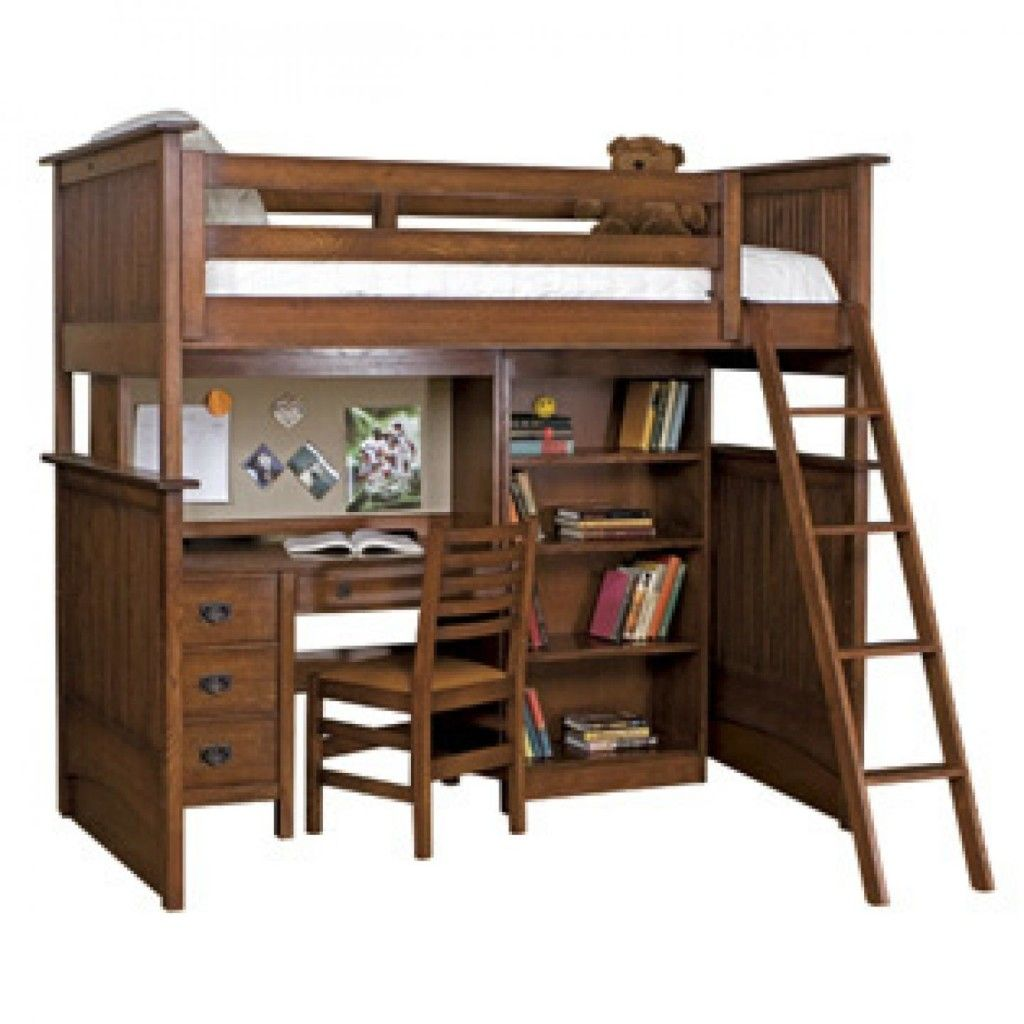 Bedroom furniture wooden bunk bed with computer table and ladder