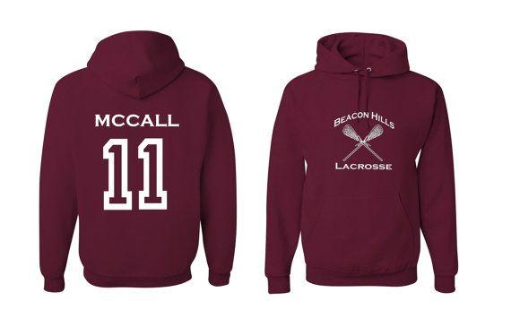 3adb1a720 Teen Wolf Hoodie, McCall 11, Beacon Hills Lacrosse Sweatshirt ...