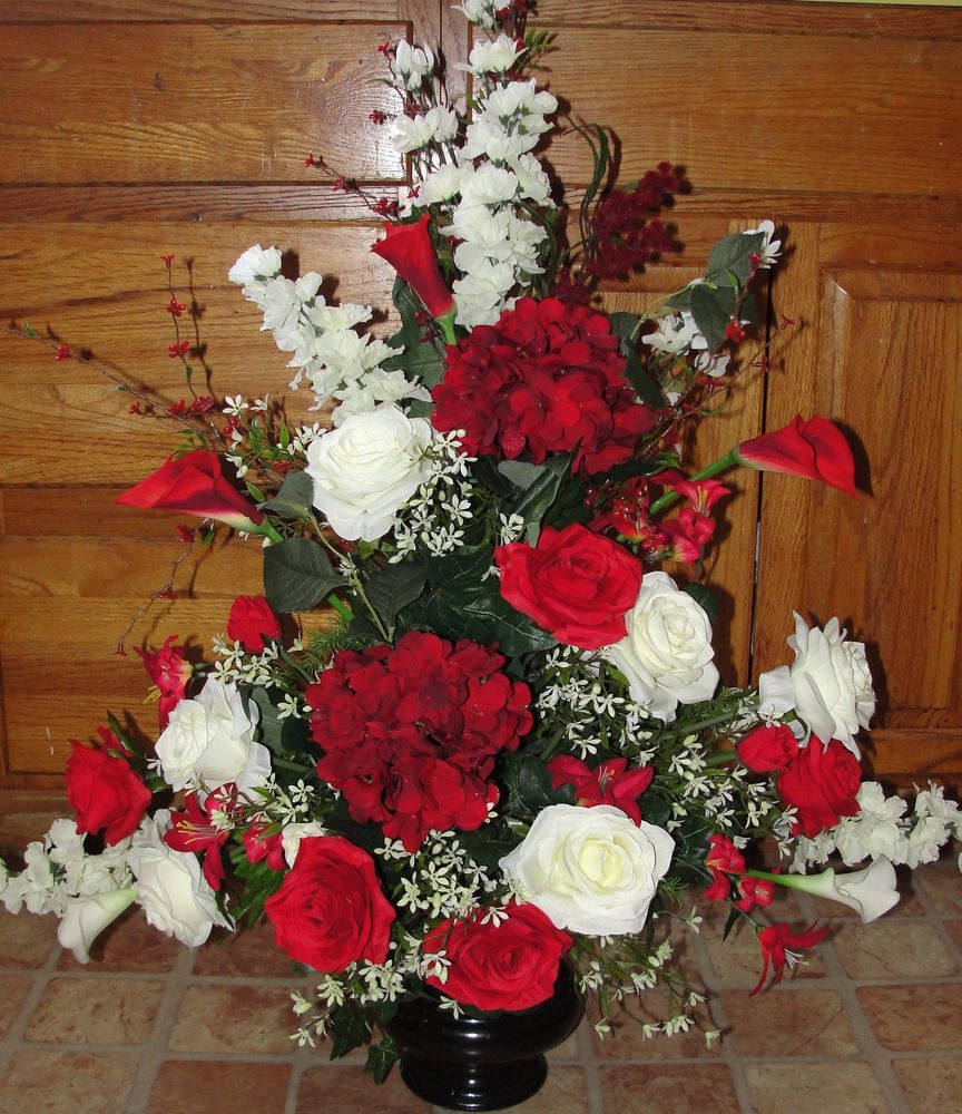 Wedding Altar Centerpieces: Red White Event Silk Flower Arrangement Church Pew Wedding