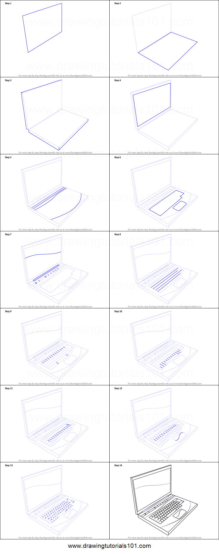 Laptop Is An Easy To Hold And Portable Computer System And Is Very Popular Among Businessmen Drawing Sheet Computer Drawing Drawing Tutorial