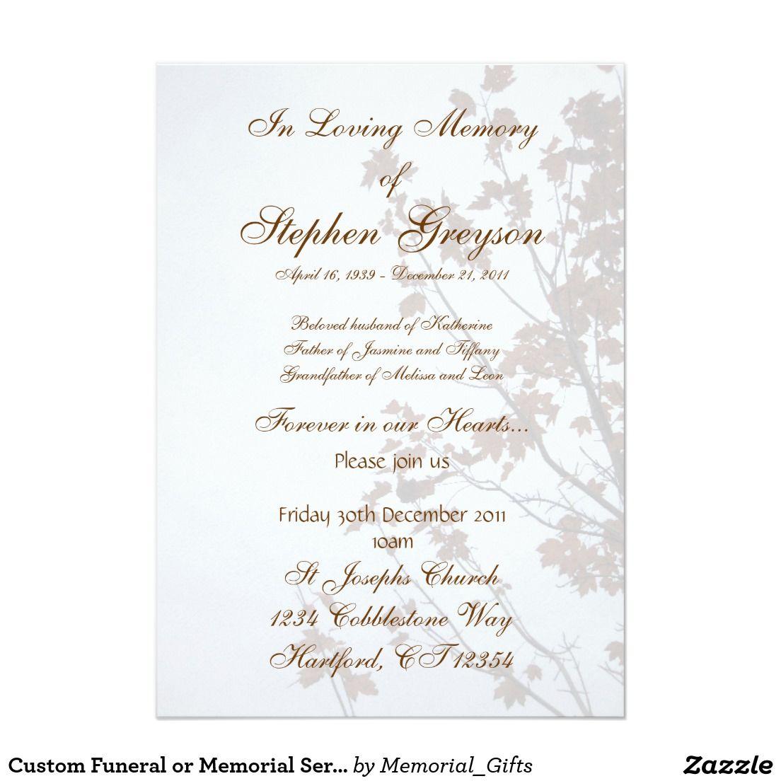 Custom Funeral Or Memorial Service Announcement 5 X 7