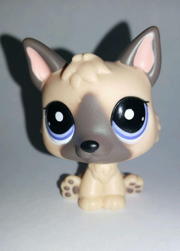 Littlest Pet Shop Dog Tan Brown German Shepherd Blue Eyes 1800