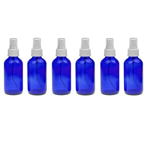6 Empty Blue Glass Spray Misters 4oz Refillable Bottle For Essential Oils Organic Beauty Products Cleaners And Aromat Refillable Bottles Organic Beauty Bottle