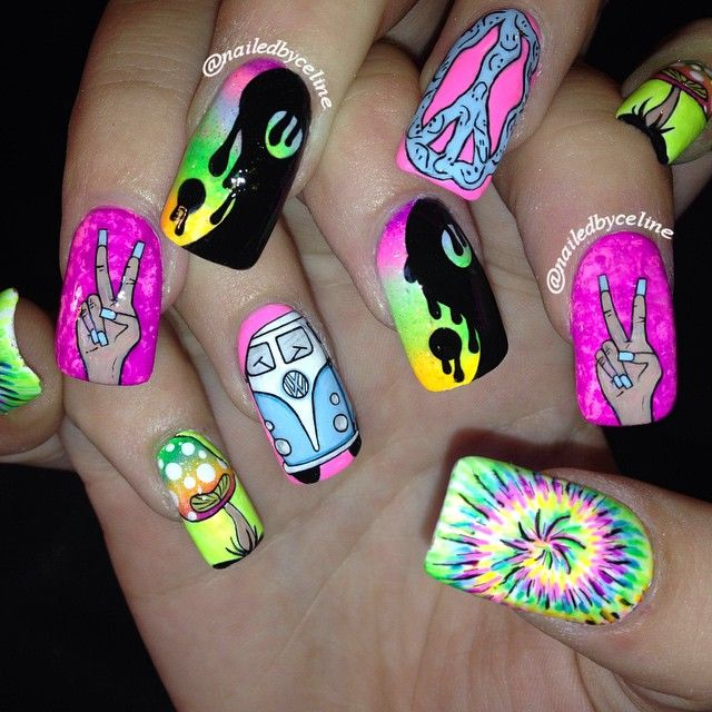 Psychadelic nails for this Firefly festival goer- complete with the  volkswagen van, rainbow shroomies, yin yang, tie dye and peace signs! Peace  and love! - Psychadelic Nails For This Firefly Festival Goer- Complete With