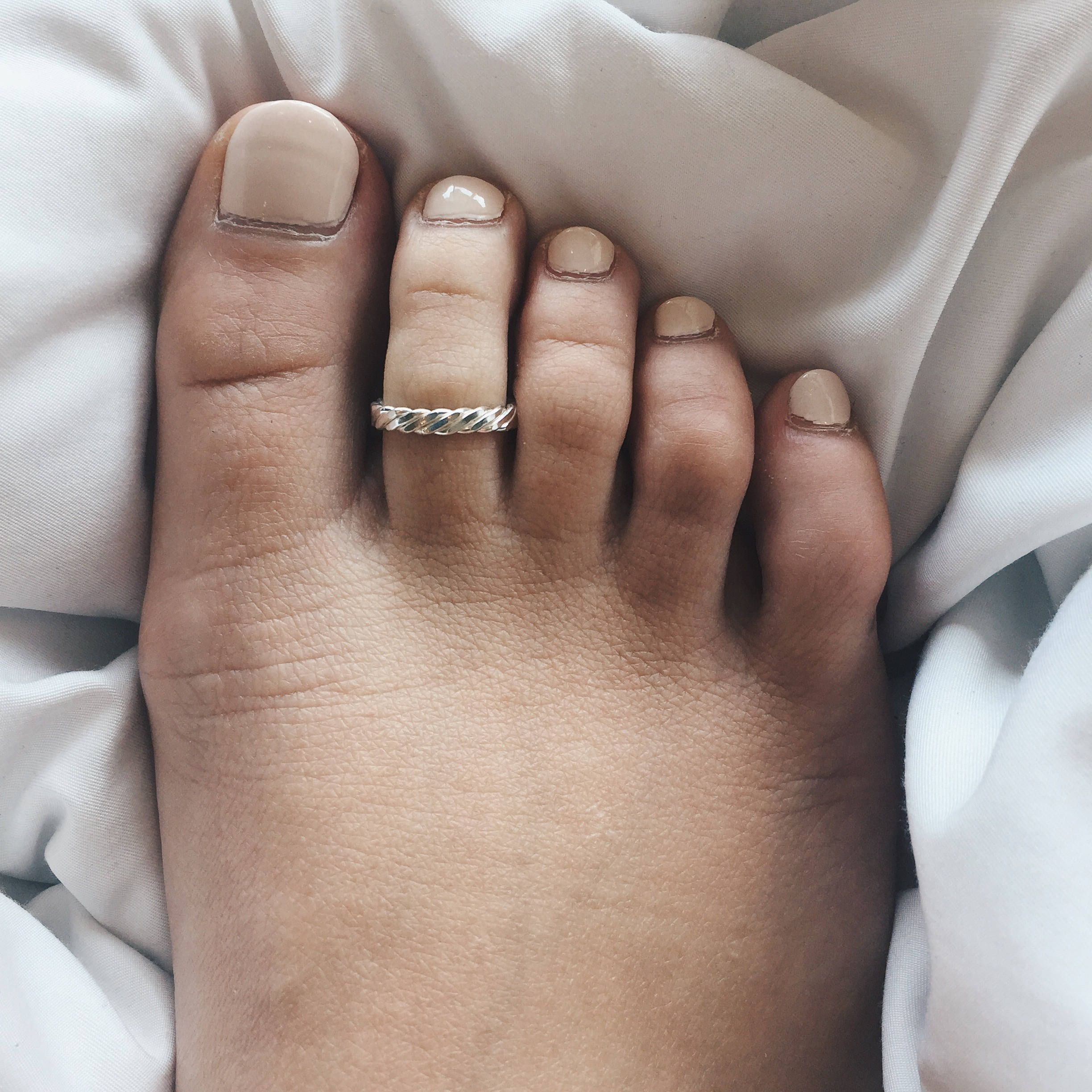 FREE SHIPPING Sterling silver braided toe ring~ adjustable,