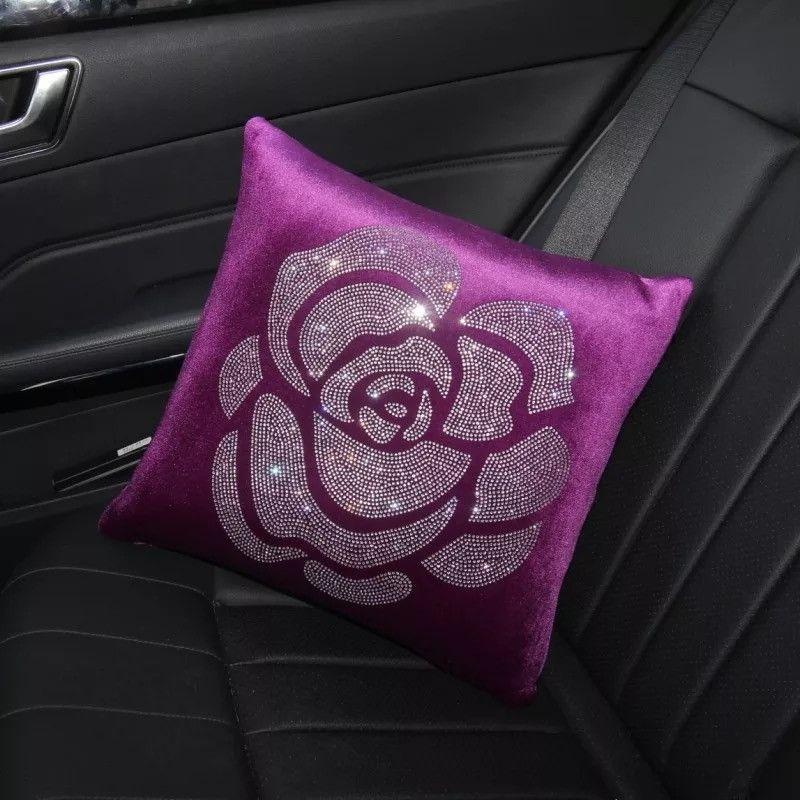 Velvet Bone Shaped Car Cushion Headrest Pillow with Bling Camellia
