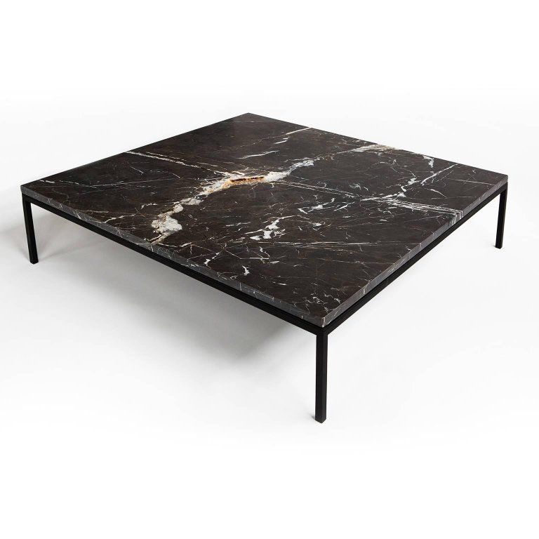 American Found Square Coffee Table In Black Marble And Black Steel