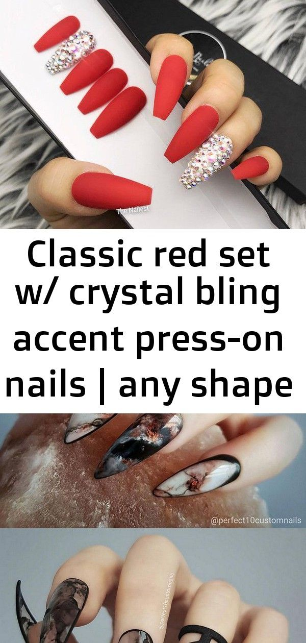 Classic red set w/ crystal bling accent press-on nails | any shape | fake nails | false nails | gl 5 #koreannailart