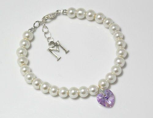 Ivory color pearls initial letter personalised bracelet SWAROVSKI Heart Violet