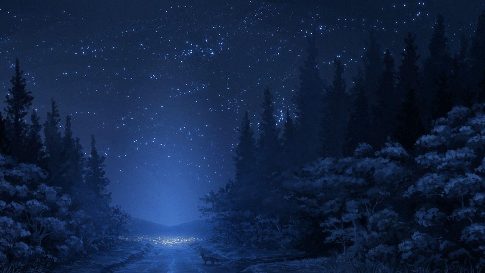 Anime Forest Trees Landscape Fox Road Sky Stars Artwork Night Wallpaper Anime Scenery Anime Scenery Wallpaper Night Scenery