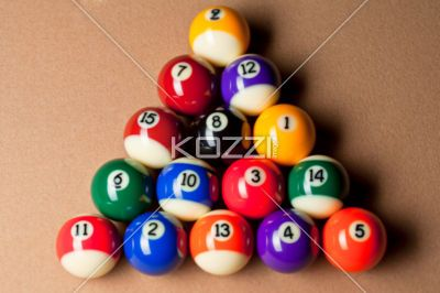 Top View Of Balls Arranged On Pool Table.   Overhead Shot Of Shiny Colorful  Pool