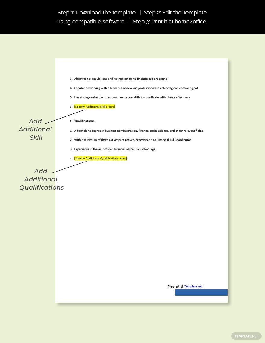 Financial Aid Coordinator Job Description Template Free Pdf Word Google Docs Job Description Template Coordinator Job Financial Aid Microsoft word job aid template
