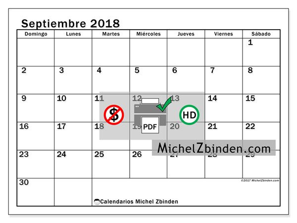 calendario de septiembre 2018