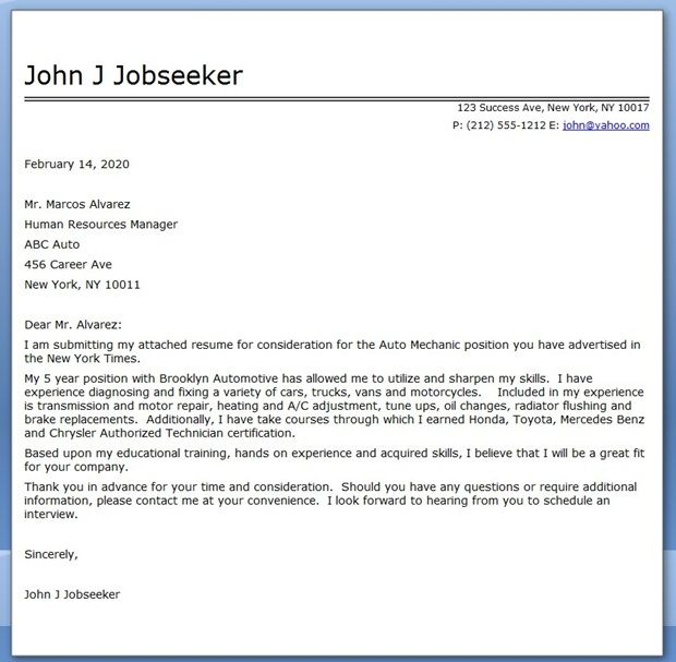 Auto Mechanic Cover Letter Template | Cover Letter for ...