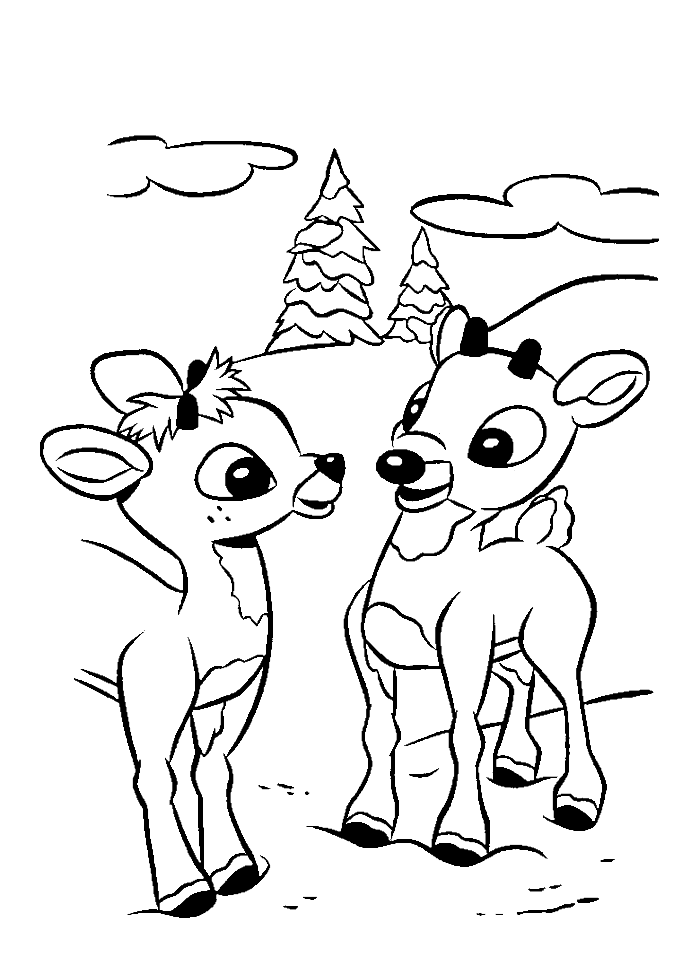 A Cute Two Rudolph Coloring Pages - Rudolph Coloring Pages ...