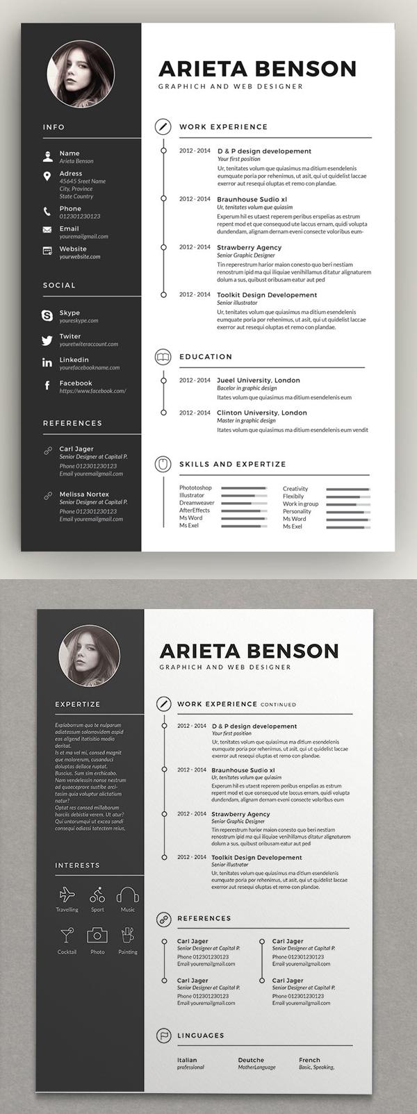 Resume Templates Clean Design Design Graphic Design Junction Cv Kreatif Desain Resume Desain Cv