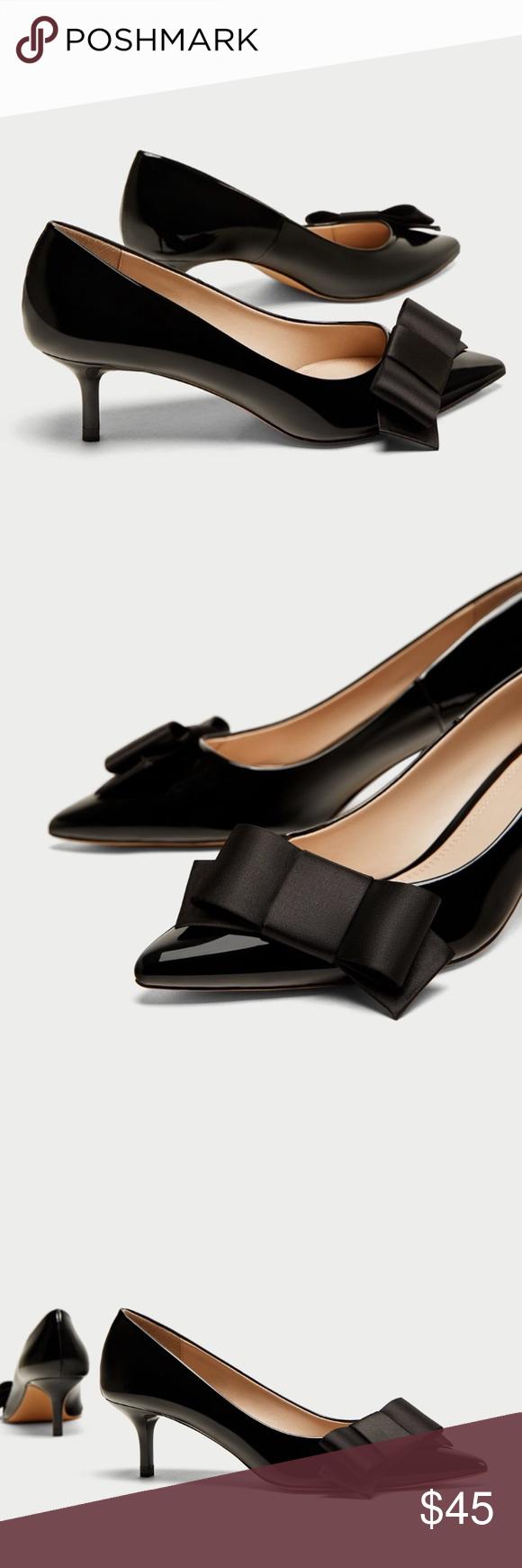 Zara Court Shoes With Bow Kitten Heels Shoes Women Heels Zara Black