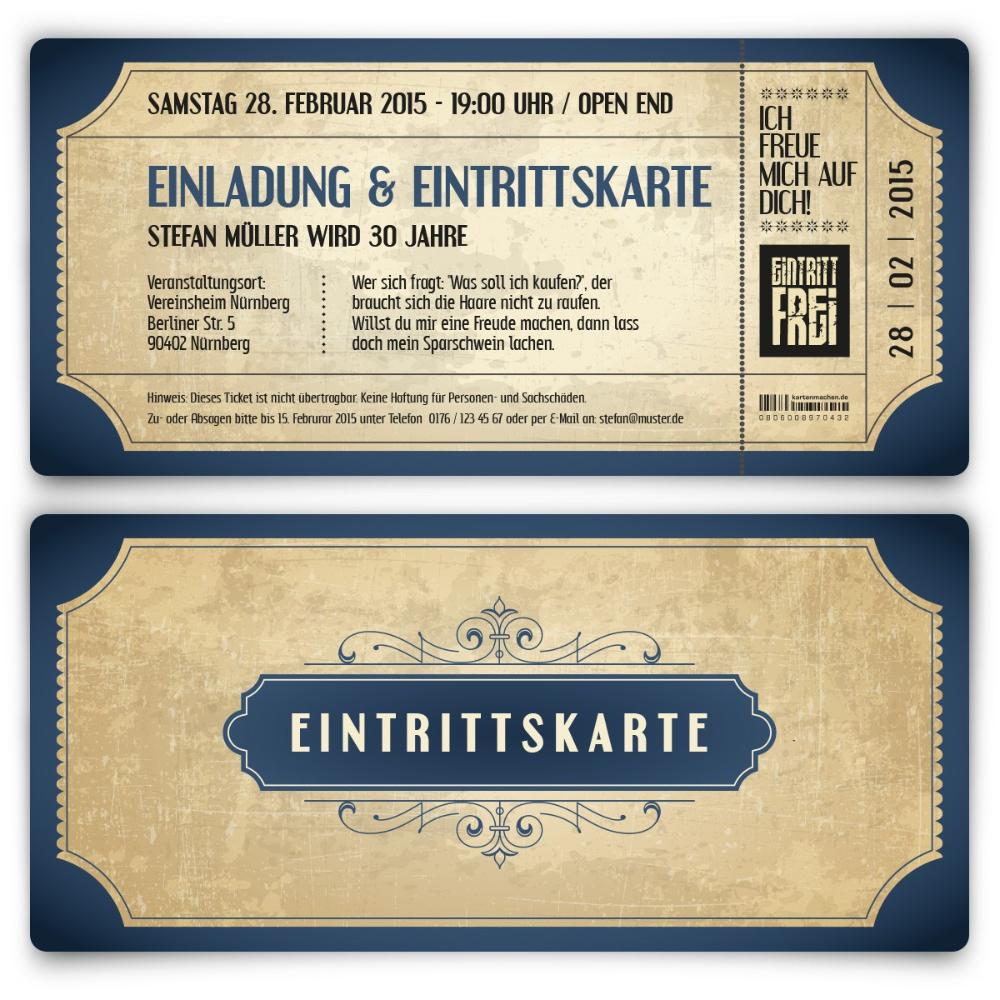 Vintage Einladungen Als Ticket In Blau Selbst Gestalten Einladungen Gestalten Texte