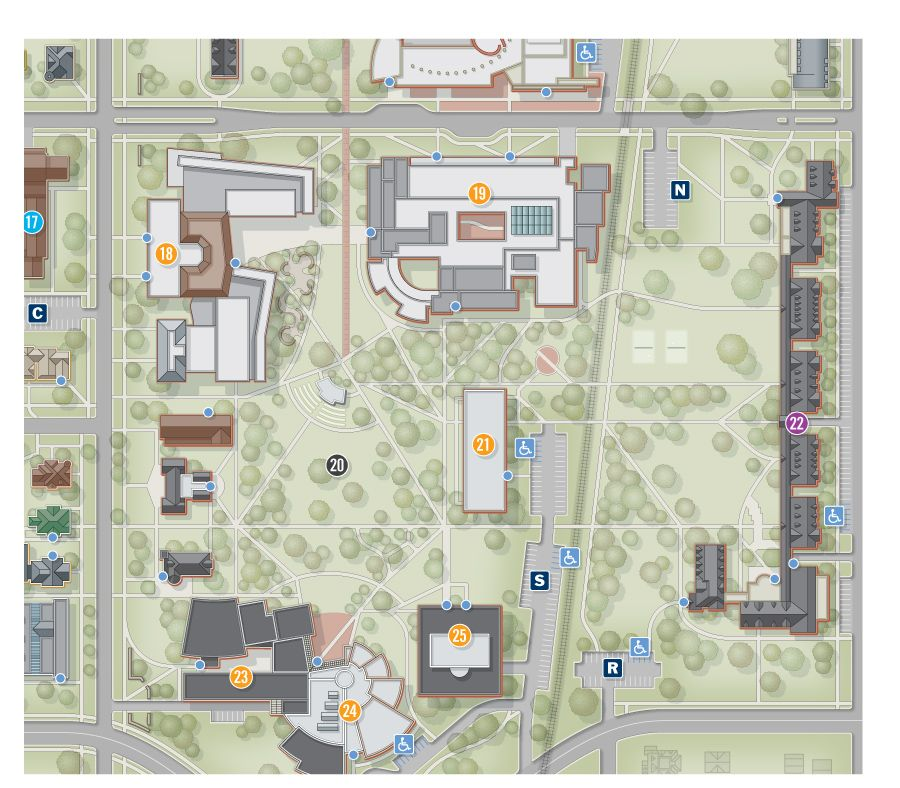 2d Grinnell University Campus Map Architectural Style 2d City