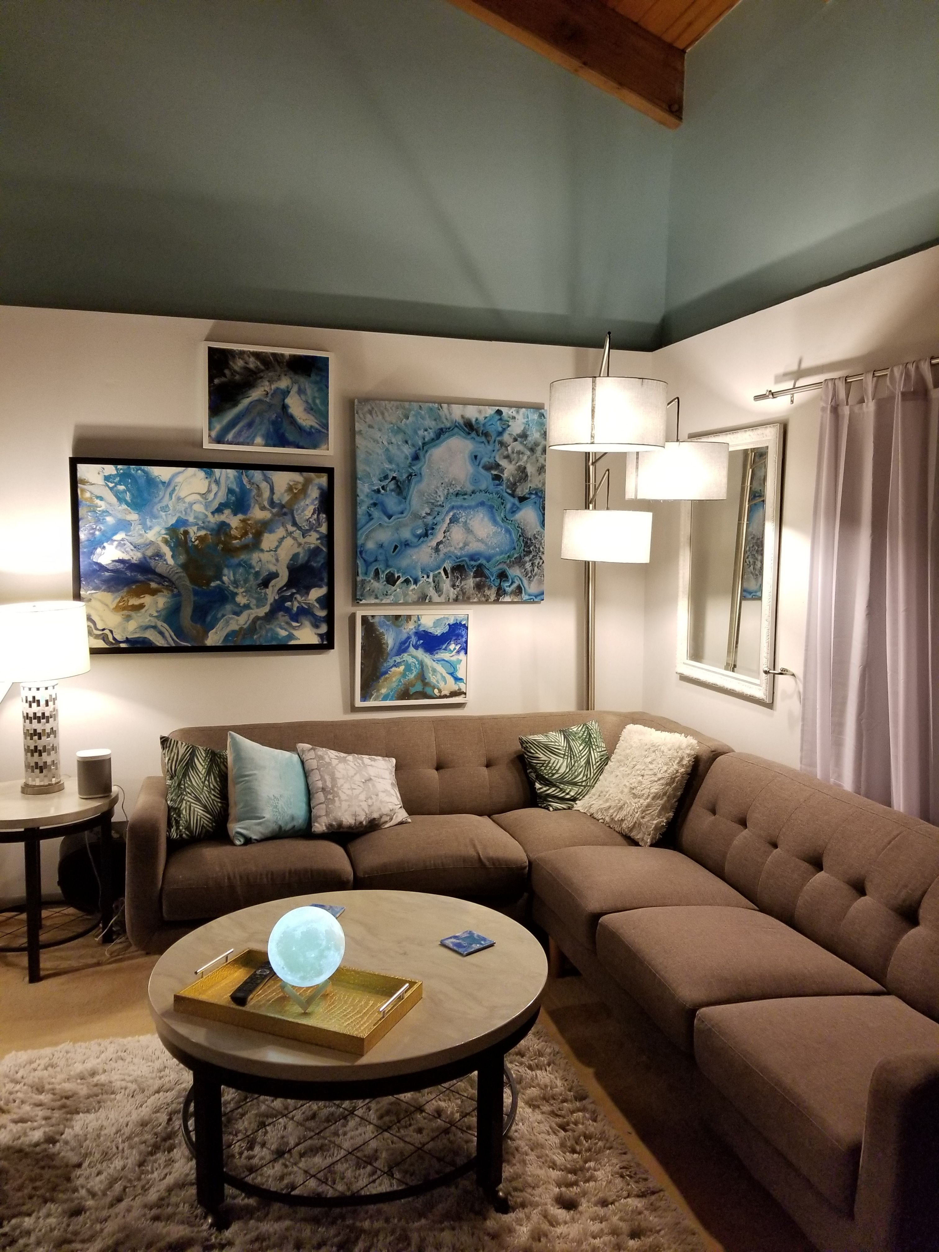 My Living Room In Delray Beach Florida Inspired By Modern Coastal Vibes Blues And Greys