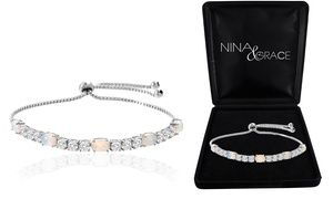 Adjustable Tennis Bracelet with Fiery Opal and Swarovski Crystals ...