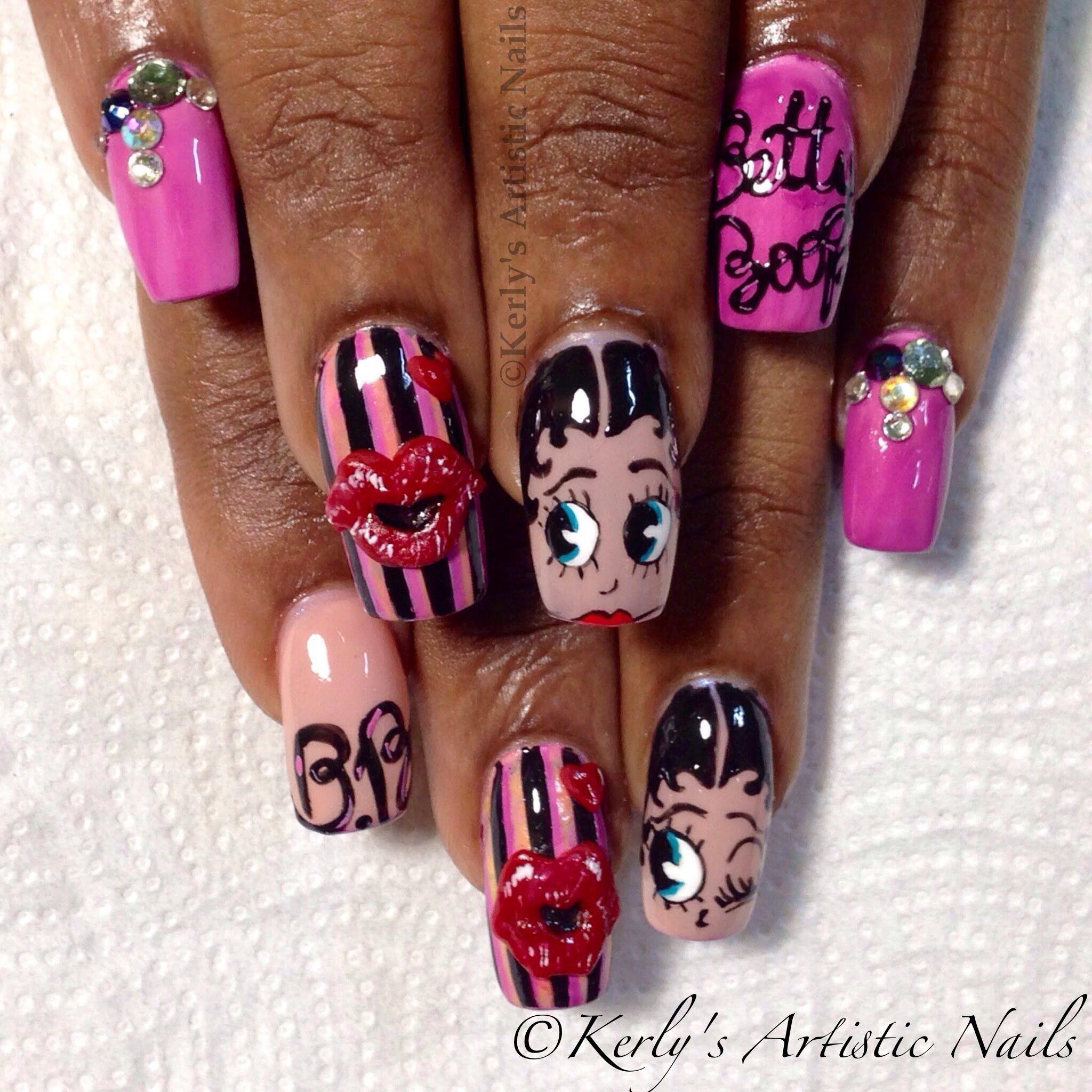 Betty Boop Nails: Betty Boop Song And Nail Art Display - YouTube