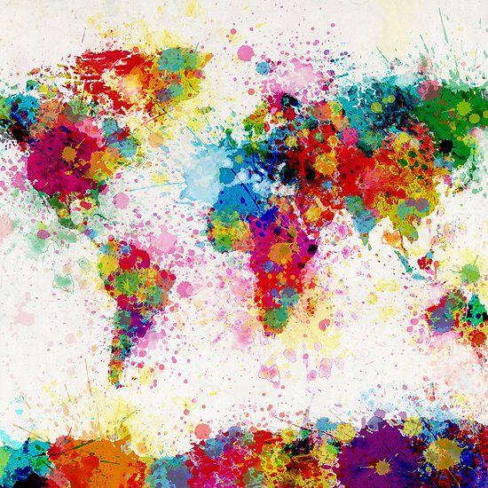 Home, Furniture & DIY BLUE ABSTRACT WORLD MAP PAINT SPLATTER ...