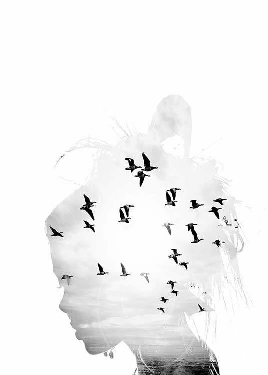 Girl Silhouette julisteet ryhmässä Julisteet  / Koot / 70x100 cm @ Desenio AB (8668)