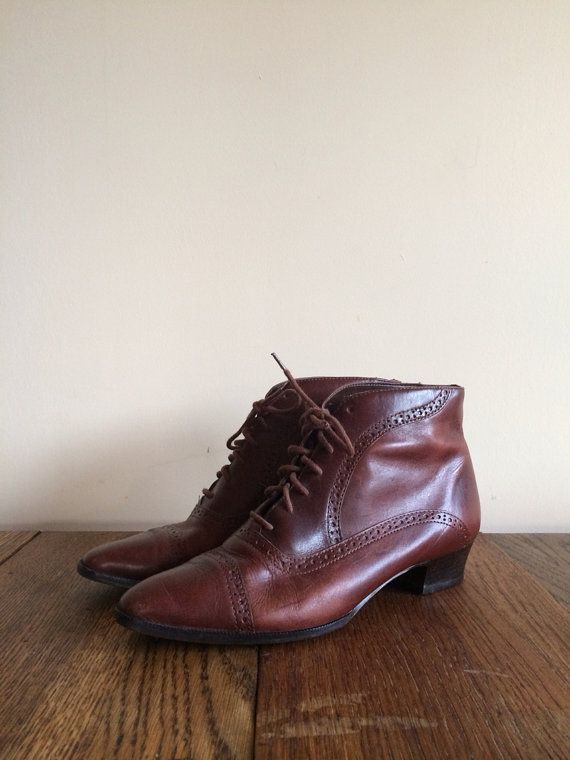 Vintage brown Oxford Lace Up Boots