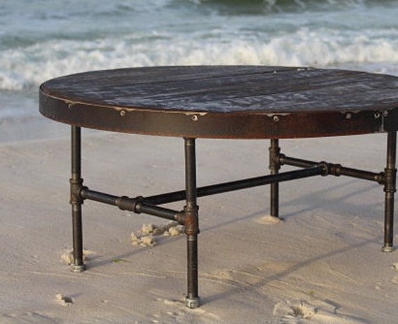 Round coffee table, metal and wood table, metal trim table, reclaimed wood  table, industrial table, round table, sofa table, dining table - Round Coffee Table, Metal And Wood Table, Metal Trim Table