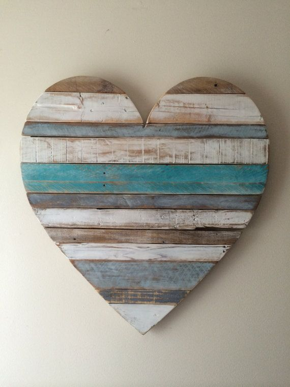 Rustic reclaimed Large 30 Turquoise stripe Heart- beach cottage heart, vintage look, pallet, barn style, Valentine's