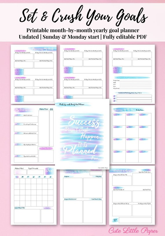 Goal Planner Printable Template - fully editable monthly ...