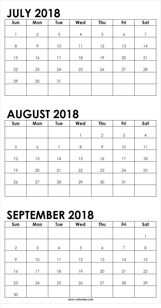 July August September 2018 Calendar Printable 2018 Calendar