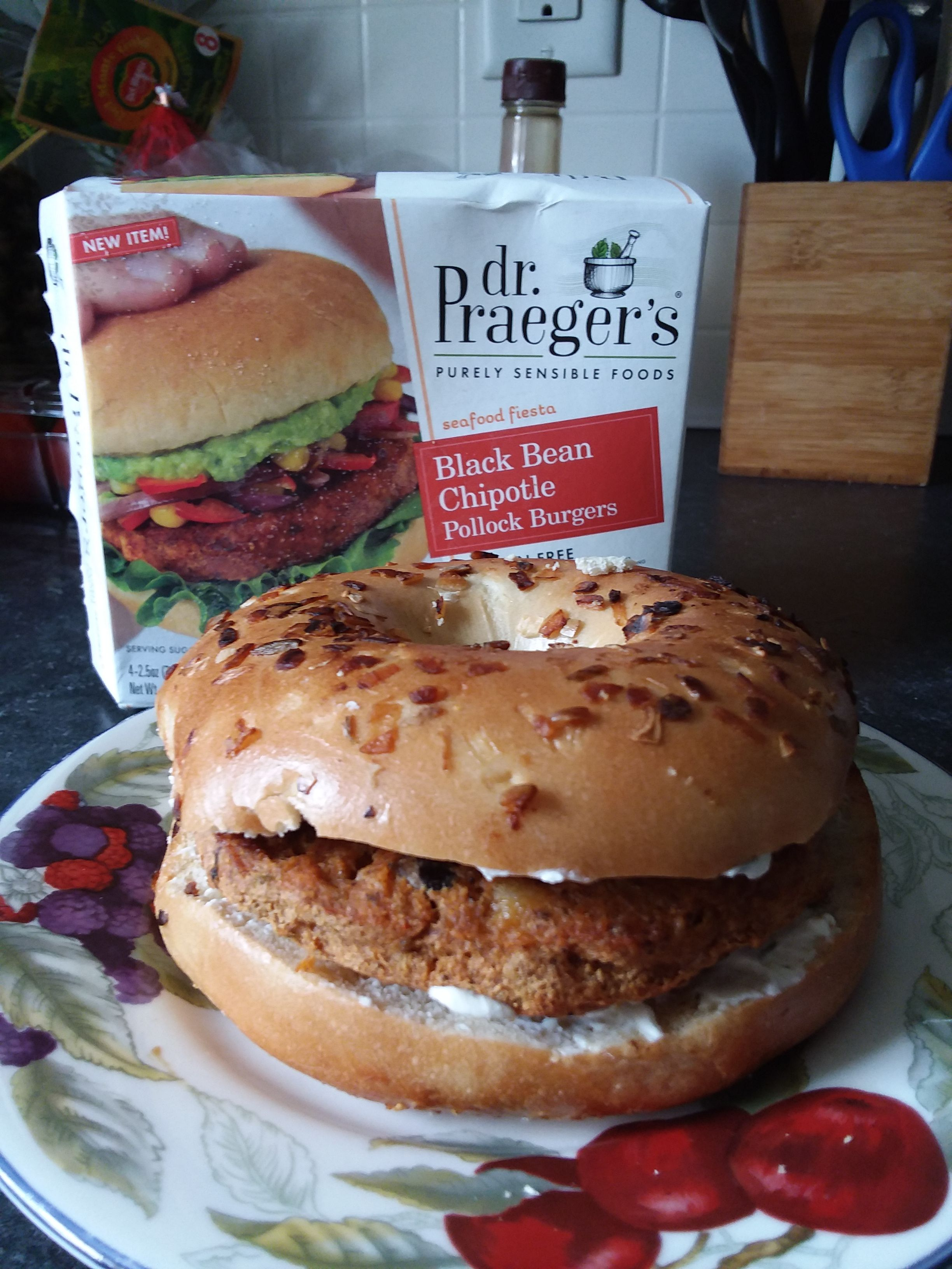 Received my coupon for a free Dr Praeger's product and decided to try the Dr Praeger s Black Bean Chipotle Pollock Burgers The burger patty itself was not too bad it was pretty tasty However I had a stack of fresh onion bagels and just had to try it on one I would not re mend that method A plan bun would have been much better but for my mission this is how I tried it Thank you Kroger for this opportunity