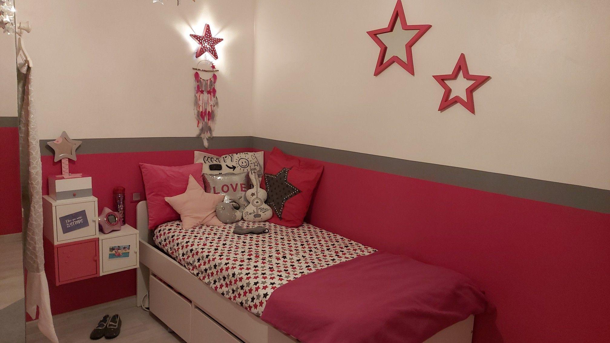 La chambre de ma fille thème Etoile couleur fushia gris blanc