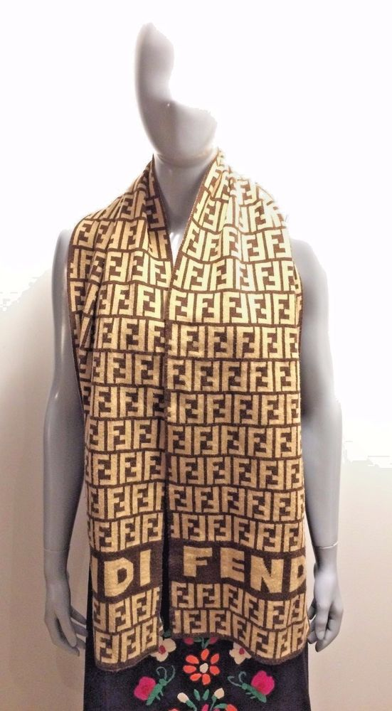 c5102454923 ... best price original vintage fendi zucca logos brown tones wool scarf 64  x 12 guc 62e3e